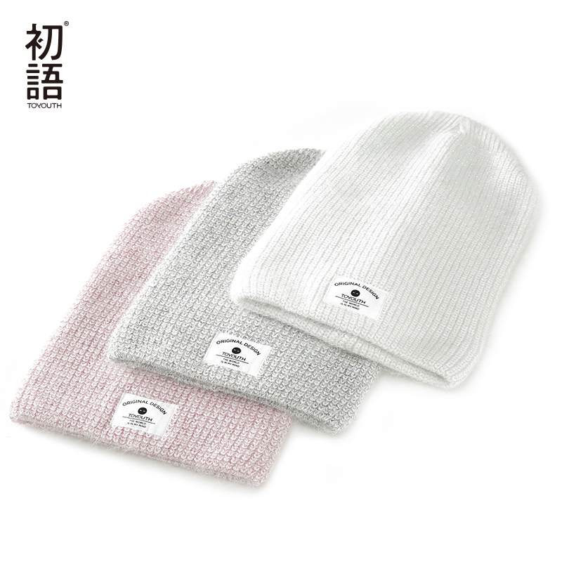 Toyouth Soft Knitted Women Hats Winter Womens Warm Hat Ladies Casual Hats 2019 Autumn Female Caps Patchwork Bonnet Femme