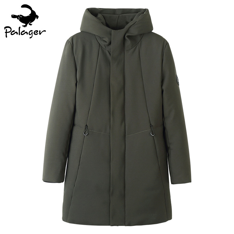 Palager Long Parka Coat Hooded Men Winter Jacket Padded Polyester Thicken Warm Army Green Parka Jacket Slim Fit Male Windbreaker