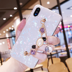 Image 3 - Fancy Pearl Crystal Stone Tassel Diamond Chain Bracelet Shell Phone Case For Huawei P30 P40 Lite Mate 20 30 Pro Y9 Prime 2019