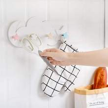 Wall Mounted Nail-Free 4 Hooks Cute Star Moon Cloud Shape Mount Key Holder Hook Hanger Organizer Durable