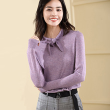 Womens pullover sweater 2018 autumn and winterl Bow solid color rendering unlined upper for women 18079