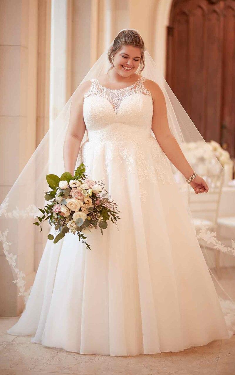 Eightale Vestido de noiva Plus Size Wedding Dress 2019 Scoop Appliques Tulle White Wedding Gowns Boho