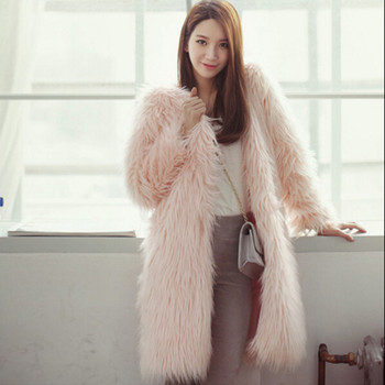 2016 Solid color Long Hairy Shaggy Faux Fox Fur Coat High quality Women V Neck Faux Fur Long Coats Warm Outerwear фото