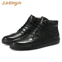 New Europe Style Men Boots 100% Genuine Leather High Quality Brand Black Boots Handmade Luxury Lace-Up Casual Shoes Martin Boots