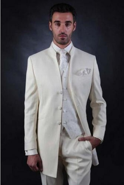New Men Formal Suits Groom Wear Beige Business Suit Wedding Mens Tuxedos Style