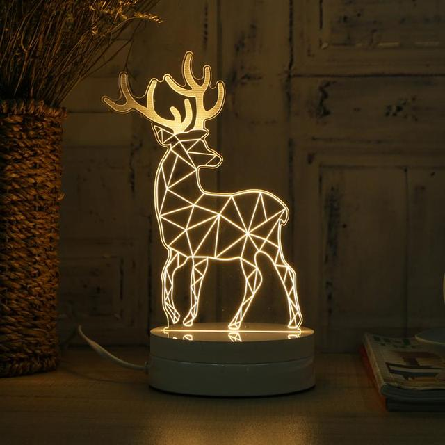Delightful Flash Night Light Creative 3D Deer Lamp Bedside Night Light Atmosphere Lamp  Button Switch Rechargeable Table