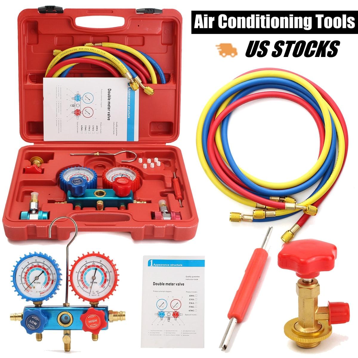 R134A HVAC A/C Kit De Refrigeração AC Manifold Calibre Set Serviço de Auto Kit de Reparação de Ar Condicionado Do Carro Flúor de Enchimento ferramenta