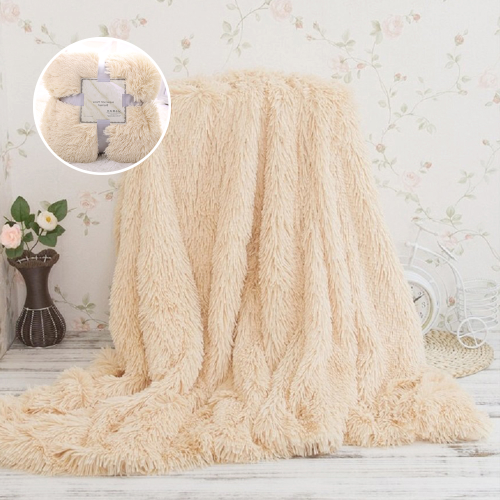 Faux Fur <font><b>Blanket</b></font> Soft Fluffy Sherpa Throw <font><b>Blankets</b></font> for beds cover Shaggy Bedspread plaid fourrure cobertor mantas Sofa