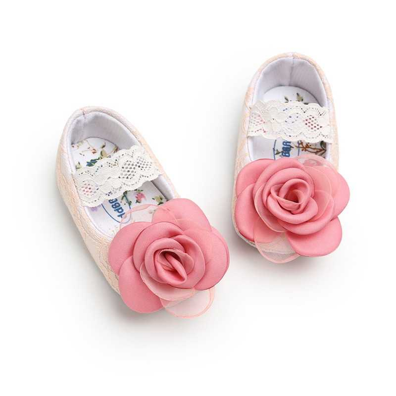 Baby Girls Shoes Flower Lace Flats Non-Slip Soft Sole Toddler Infant First Walkers Princess Dress Shoes 0-18 Monthes