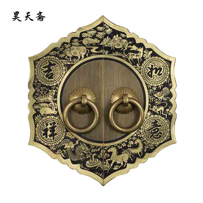 [Haotian vegetarian] Chinese antique copper fittings copper bronze door handle luck paragraph HTB-259 european modern chinese antique bronze doors handle handle carving glass door handle