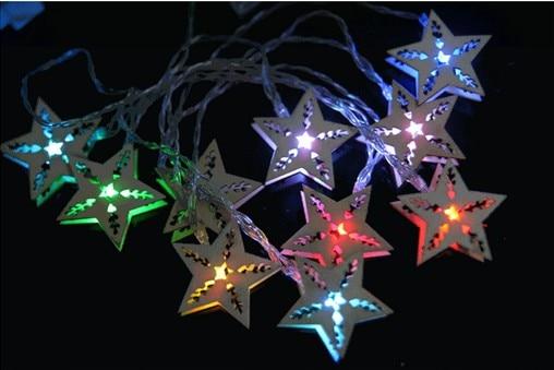 10M10LED Festive Wedding Decoration Supplies Led Lights Flashing String  Lights Waterproof Outdoor Wooden Creative Star Lights