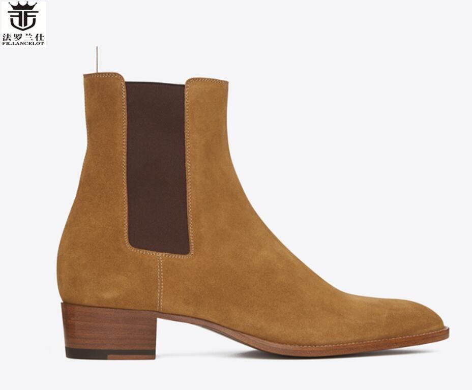 FR. LANCELOT 2018 mode nouveaux hommes bottes Britanniques bout pointu en daim bottes chelsea en cuir léopard homme bottes s'enfilent chaussons