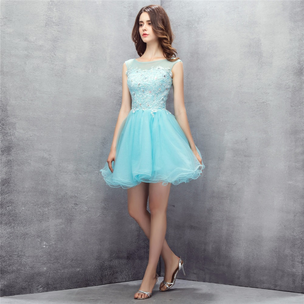 BRLMALL Simple Cheap Blue Homecoming Dresses Lace Appliques Beaded ...