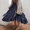 Qbale Women Skirts Lolita Style 2017 Spring Autumn Korean Fashion Ball Gown Ruffle Skirt Midi Length Velvet Skirt Long