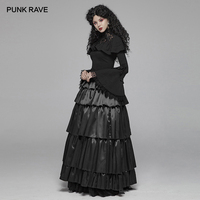 PUNK RAVE Women's 2 Colors Gothic Layered Skirts Christmas Halloween Party Evening women Long skirt Mercerizing Forging