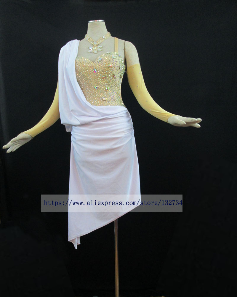 White New Latin Dance Dress,ballroom Dress Rumba Jive
