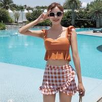 2019 Bikini Sexy Swimsuit Korean Ins style Women Swimwear High Waist Bathing Suit Push Up Ruffle Summer Beach Wear Biquini