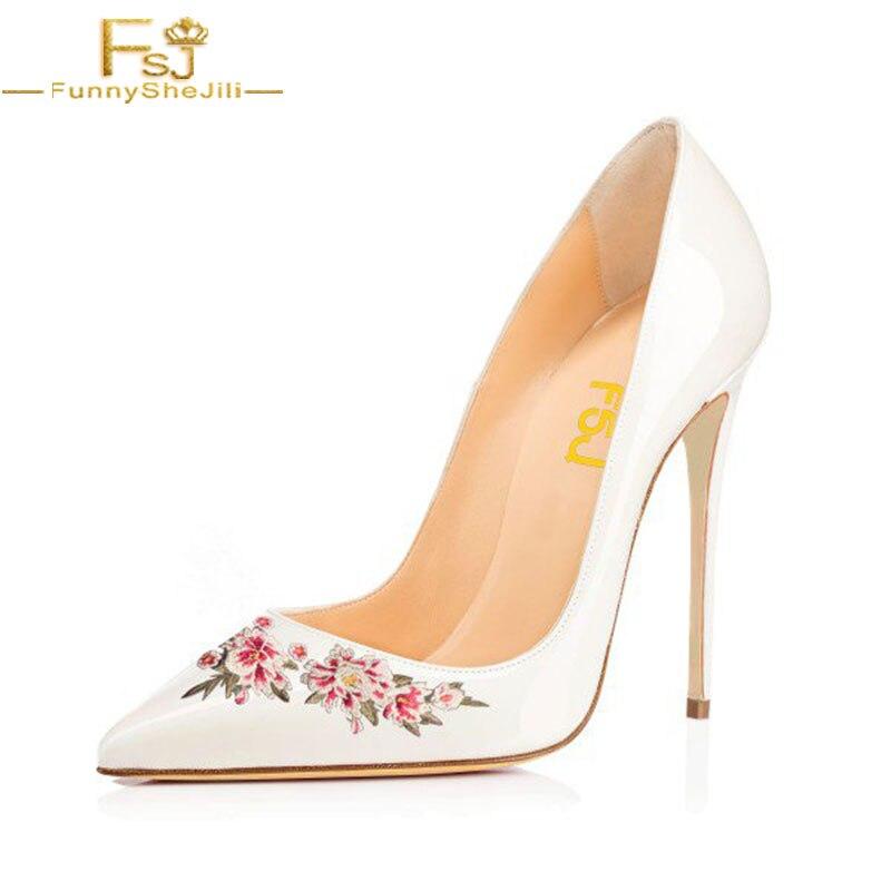 Stiletto Printemps 12 Chaussures Dames Bout Fsj Floral Pointu Talons Shoes11 13 Pompes Grande Taille Blanc Fsj01 Automne 2018 Bureau Femmes FXTqw1qO