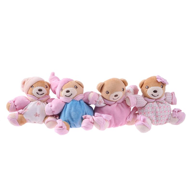 4pcs Baby Plush Bear Pattern Doll Rattle Toys Newborn Bell Hand Grasp Toys Plush Animal Dolls Gifts