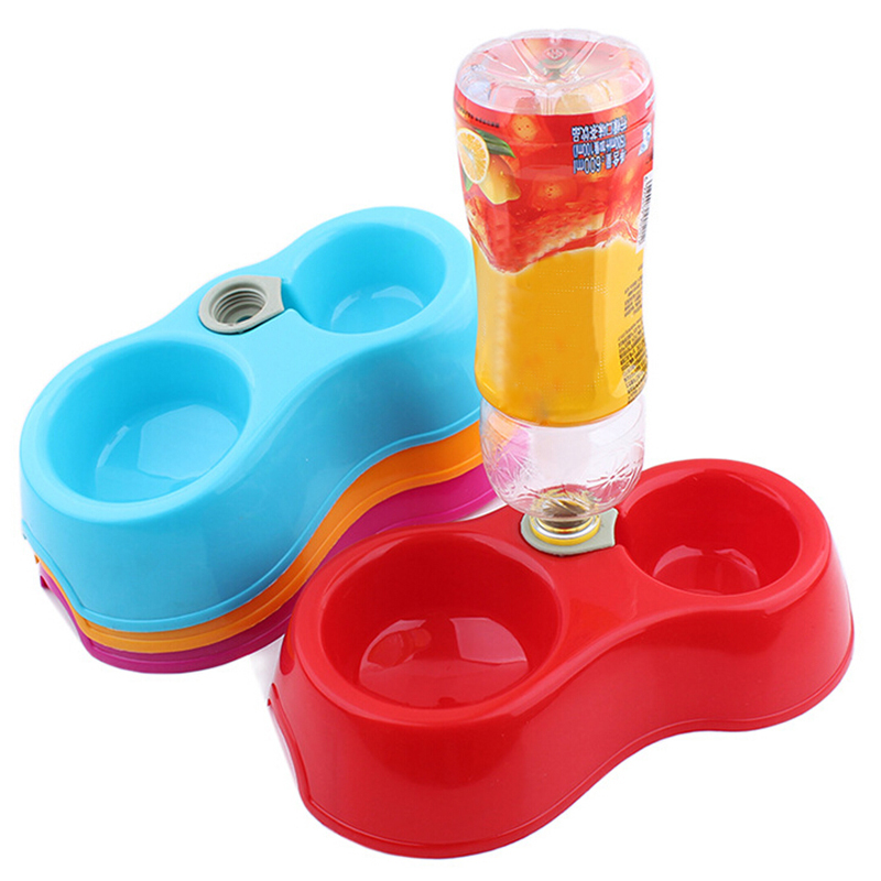 1Pc Plastic Pet Automatic Watering Feeding Bowl Dog Puppy Cat Dual Port 4 Colors Drinking Water Food Dispenser Utensils Dish  plastic