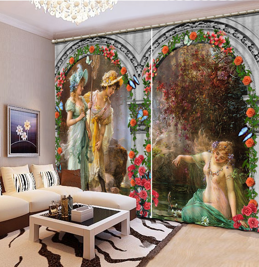 Europe curtains angel curtain 3D Window Curtain Foggy forest Luxury Blackout Living Room office Bedroom Customized size