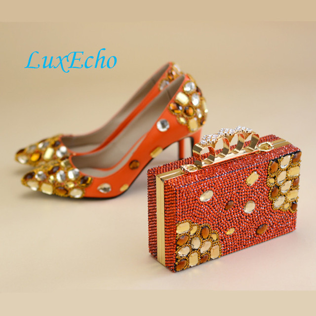 4265e2d1ec LuxEcho Wedding shoes Womens Orange real leather Pumps fashion 8cm ...