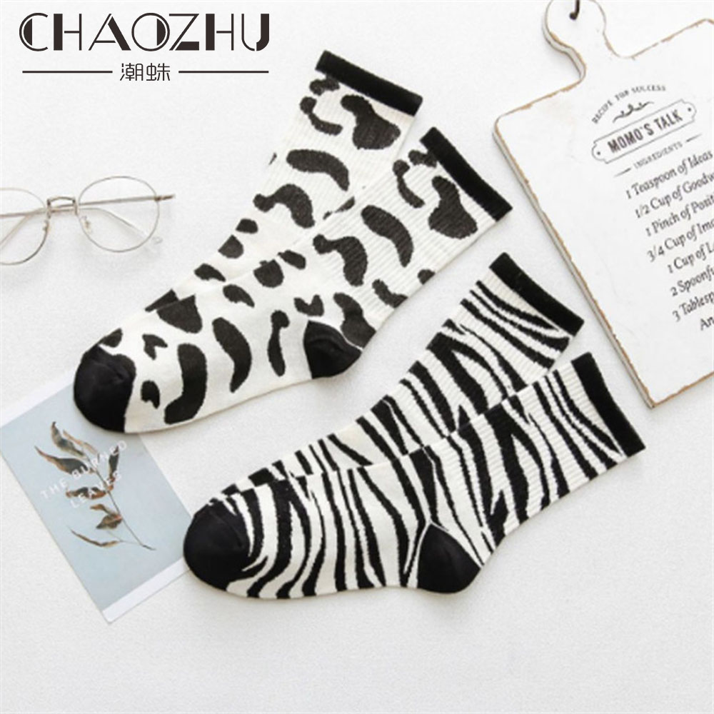 CHAOZHU 2019 Fashion Black White Striped Dots Cow Zebra Pattern Street Snap Fine Cotton Casual Women   Socks   Photograph Trendy