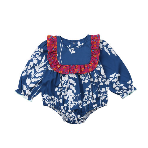 a062e23e6a2 Children Clothing Newborn Baby Girls Floral Romper Tops Jumpsuit Long  Sleeve Outfits Cotton Girl Autumn Spring Clothes Set