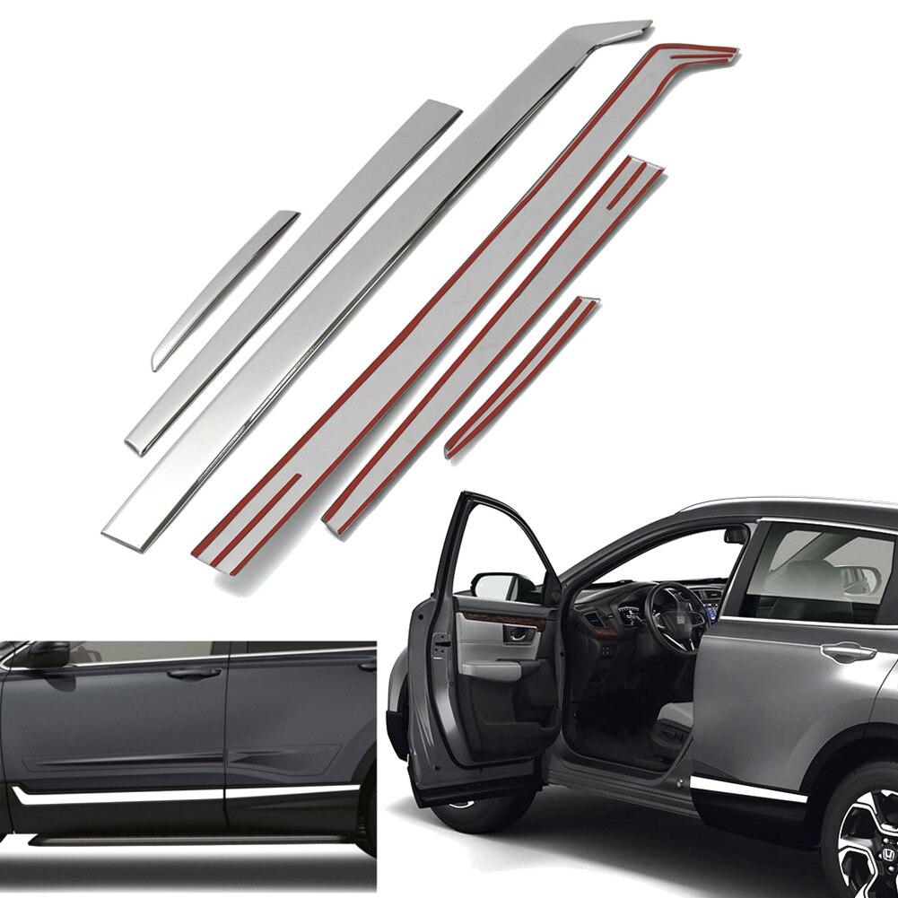 6 pcs Porte Coté Carrosserie Moulures Garniture En Acier Inoxydable Chromé Pour Honda CRV 2017 2018 XR657