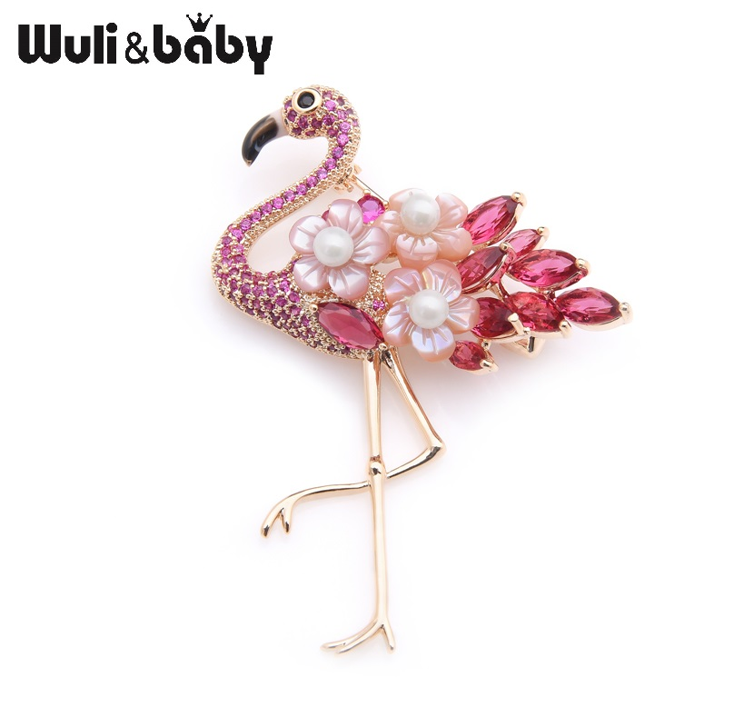 Wuli&baby Luxury Natural Shell Hot Pink Crystal Flamingo Bird Wedding Banquet Brooches Pins For Women And Men недорого