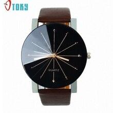 Творческий 2017 Мода Молодая Стиль Часы Мужчины Большой Циферблат Часы Круглый Дело Наручные Кварцевые Часы Случайные Часы relógio masculino