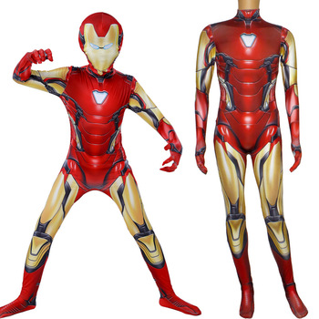 цена Iron Man Costume Adult Kids Endgame Superhero Costume Iron Man Cosplay Jumpsuit Halloween Costume For Adult Child Carnival Party онлайн в 2017 году