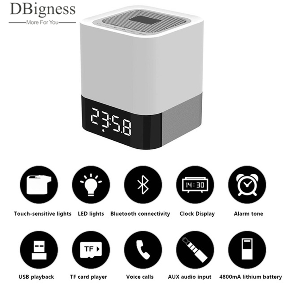 Dbigness Speaker Multi-funcation LED Light Time Alarm Bass TF USB AUX Mini Portable Wireless Bluetooth Speaker Hifi Stereo dbigness bluetooth speaker portable bluetooth speaker wireless speaker wooden speaker mini subwoofer support tf aux in handsfree
