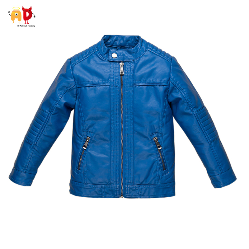AD Boys Girls Leather Jacket for Autumn Winter Blue Kids Coat Soft breathable Faux Leather Children's Outwear Clothing