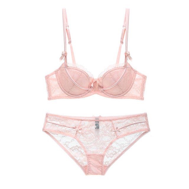 4a7e757f1343b New Women Lace Bra Set Sexy Balcony Thin Cotton Large Cup Strappy Push Up  Lingerie Sets French Vintage Underwear Black Pink ABCD