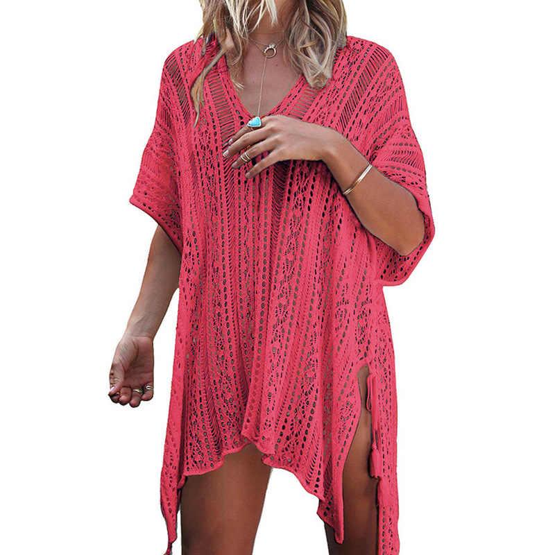 2019 женщины; Лето; пляж блузка бикини полые пляжные трикотажные топы женские модные пальто с защитой от солнца женский соблазнительный пуловер высокого качества