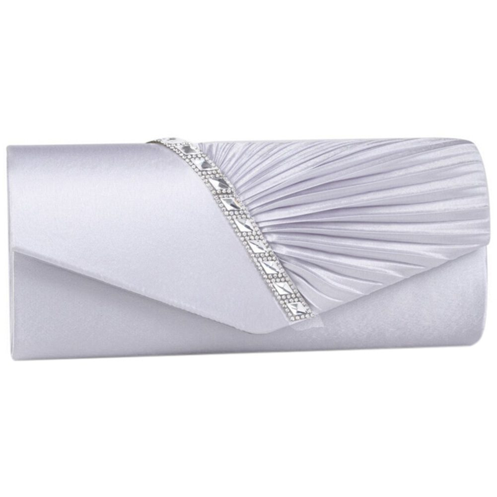 Ladies Diamond Ruffle Party Prom Bridal Evening Envelope Clutch Bag, LY6682 Silver