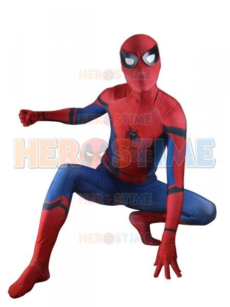 (SPD001)Spider-Man Homecoming Costume Movie TRAILER VERSION New Spiderman Cosplay Suit Spiderman Zentai Suit Superhero Costume