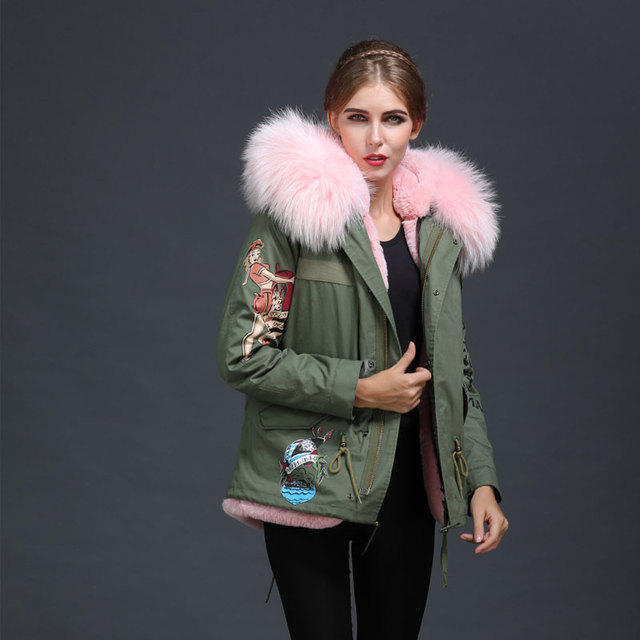 2017 Khaki Customized Pattern Girl Fur Aprka, Huge Raccoon -3892