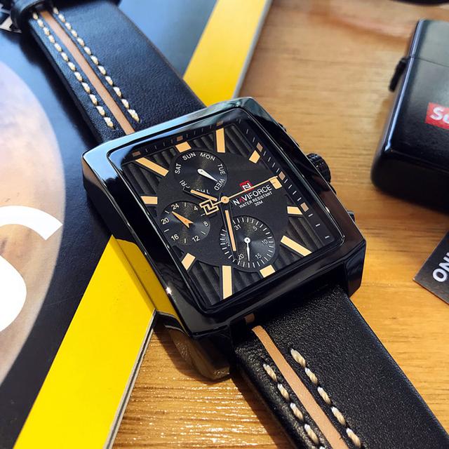 NAVIFORCE Men Fashion Creative Quartz Wrist Watch Sports Watches Top Brand Waterproof Leather Strap Clock Male Relogio Masculino