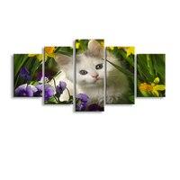 5 stuks high-definition print Verbazingwekkende Baby kat canvas olieverf poster en wall art woonkamer foto B-060