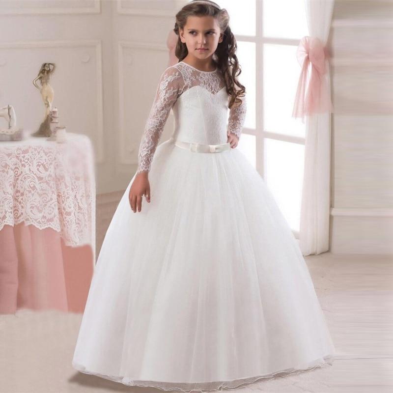 Кружевное платье с длинными рукавами для девочек, держащих букет невесты на свадьбе, на день рождения, банкет Элегантное Длинное белое кружевное платье с бабочкой для девочек - Цвет: white