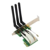 YOC 5* New Mini PCI E to PCI E Express X1 Wireless WIFI adapter card with 3 Antennas