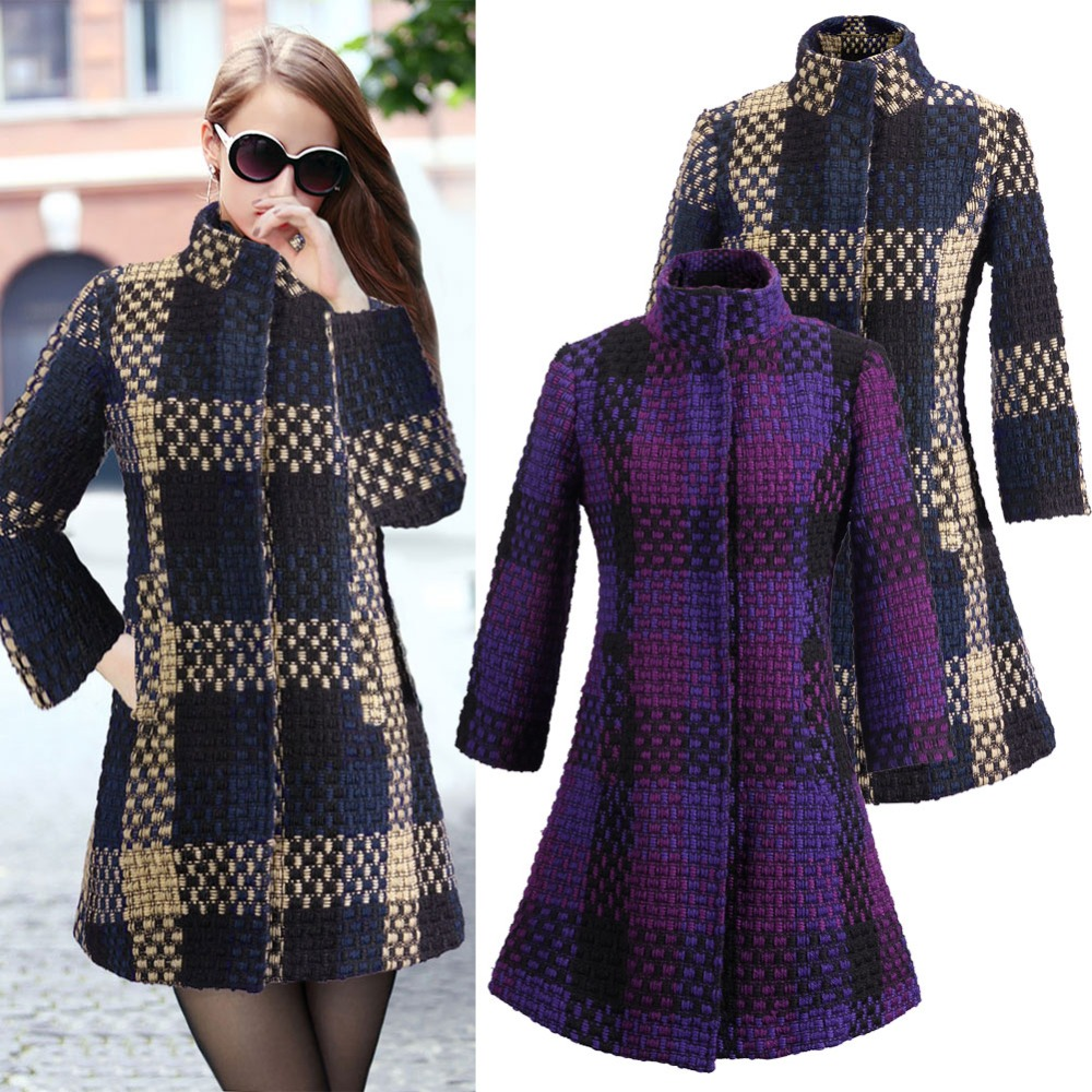 Compare Prices on Plaid Wool Coats for Women- Online Shopping/Buy ...