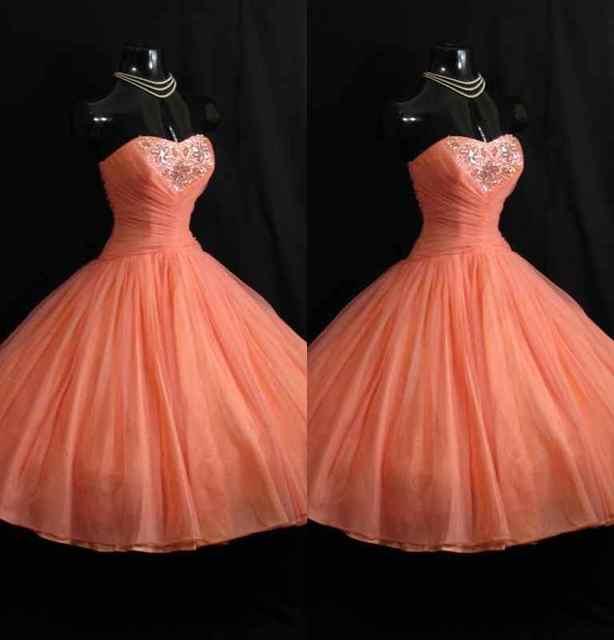 c3a0d8e0db 2017 New Arrive Vintage 1950S A Line Prom Dresses Coral Sweetheart Beads  Mini Short Bridesmaid Formal Gowns Vestidos De Fiesta