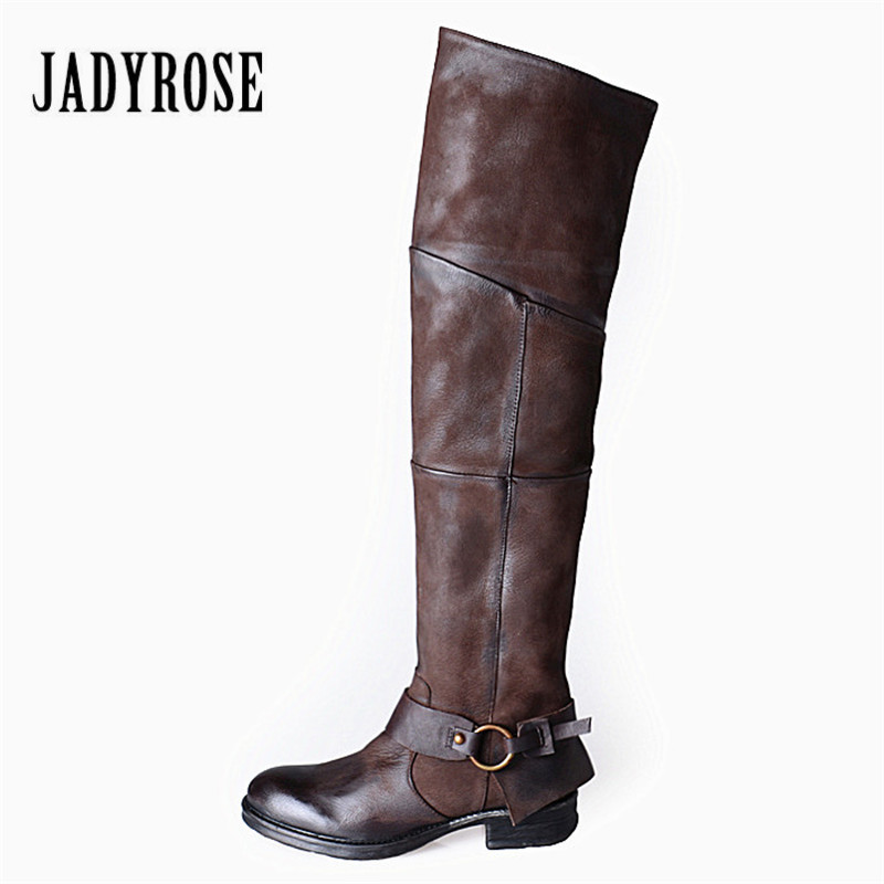 Jady Rose Genuine Leather Women Thigh High Boots Casual Over The Knee Boots Platform Rubber Flat Boot Female Riding BootJady Rose Genuine Leather Women Thigh High Boots Casual Over The Knee Boots Platform Rubber Flat Boot Female Riding Boot