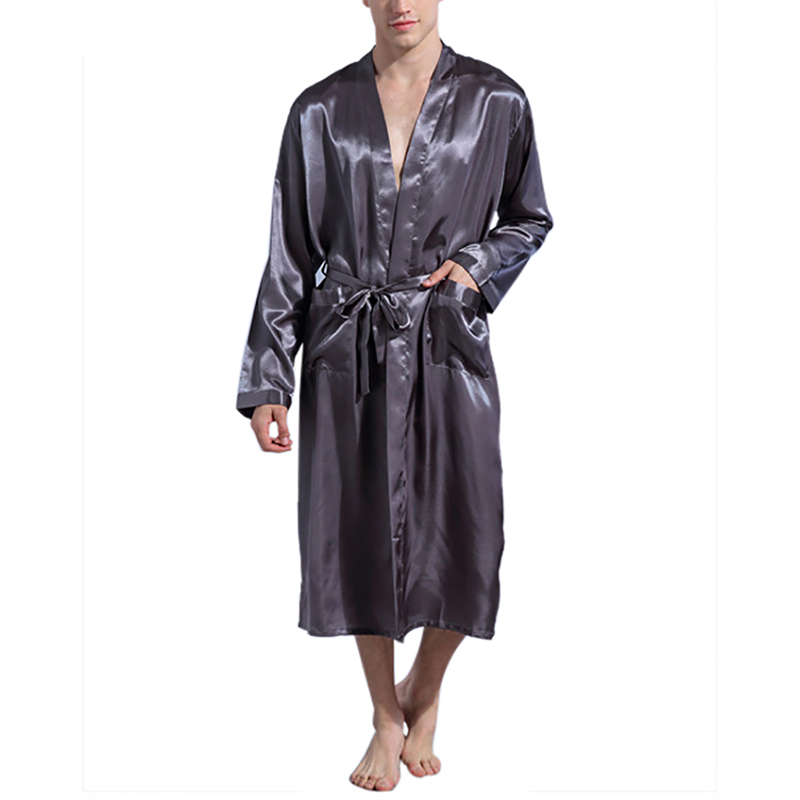 Black Long Sleeve Chinese Men Rayon Robes Gown New Male Kimono Bathrobe Sleepwear Nightwear Pajamas S M L XL XXL   J1