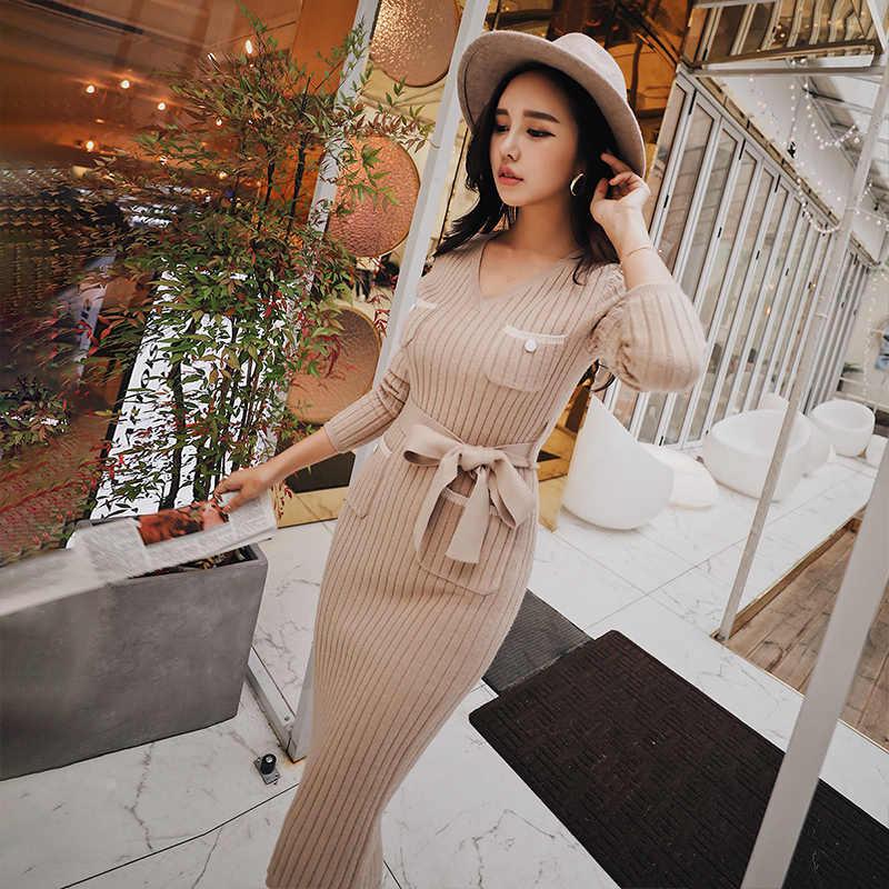 d9c2d7c836b67 Dabuwawa Spring Sexy V-Neck Knitted Midi Dress for Girls Women Office Lady  New Elegant Slim Bodycon Dress D18DDR019