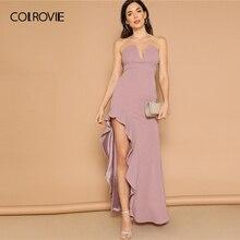 COLROVIE Purple Solid Asymmetrical Ruffle Hem Glitter Sexy Tube Dress Women  2019 Summer Sleeveless High Waist Party Maxi Dresses 390ed600e6f3