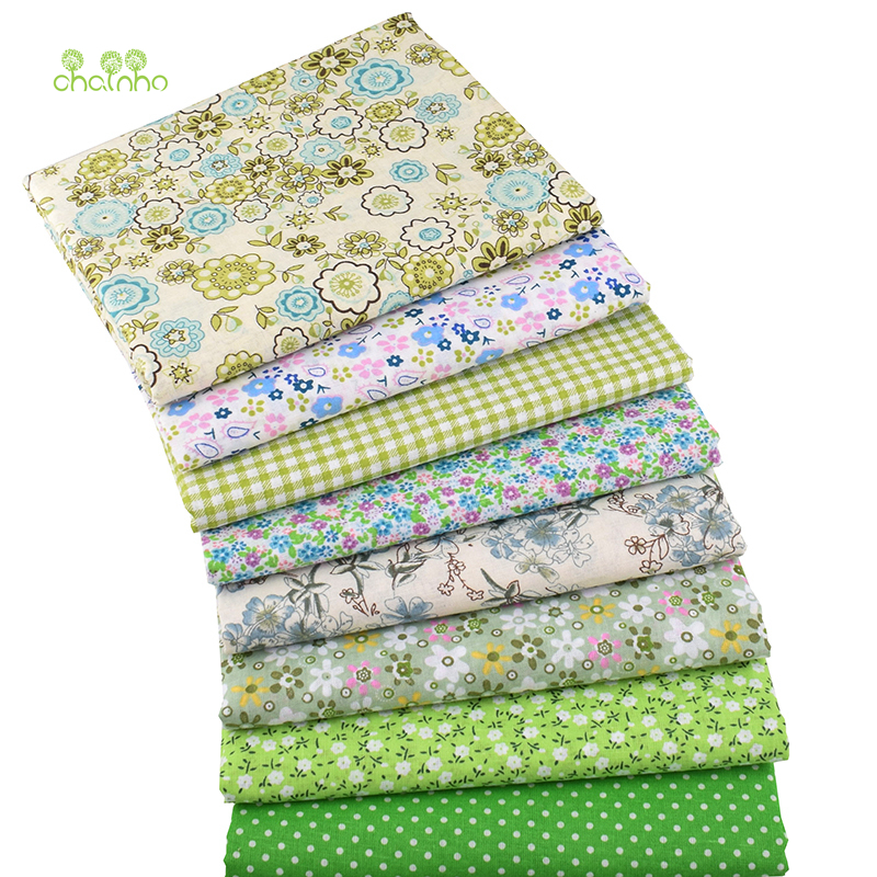 Chainho,8pcs/Lot,Green Floral,Cotton Plain Thin Fabric,Patchwork Clothes For DIY Quilting & Sewing,Fat Quarters Material,50x50cm